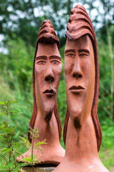 2 Keramikköpfe aus rotem Ton, unbehandelt, frostfest