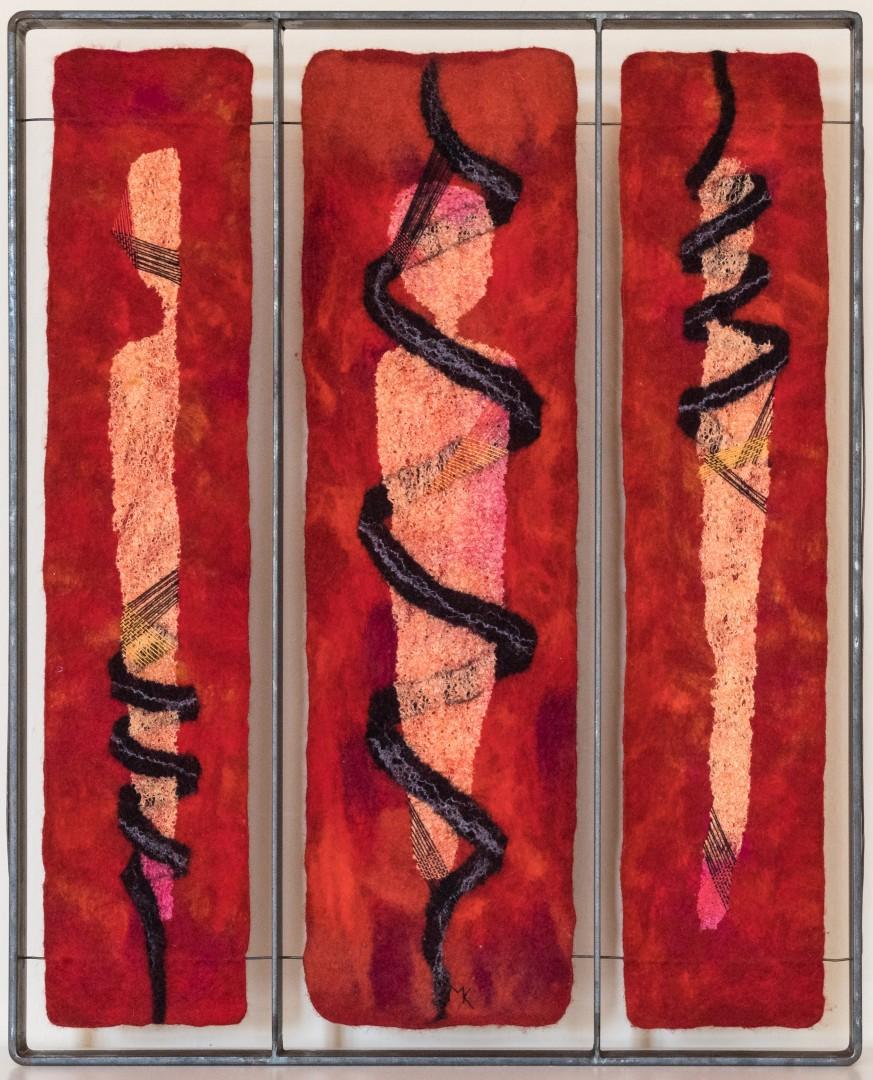 Ent-Wicklung. 2003 (Mechtildis Köder), ca. 61x49 cm, Filz, Seide, Garne, Metallrahmen, handgefilzt, bestickt