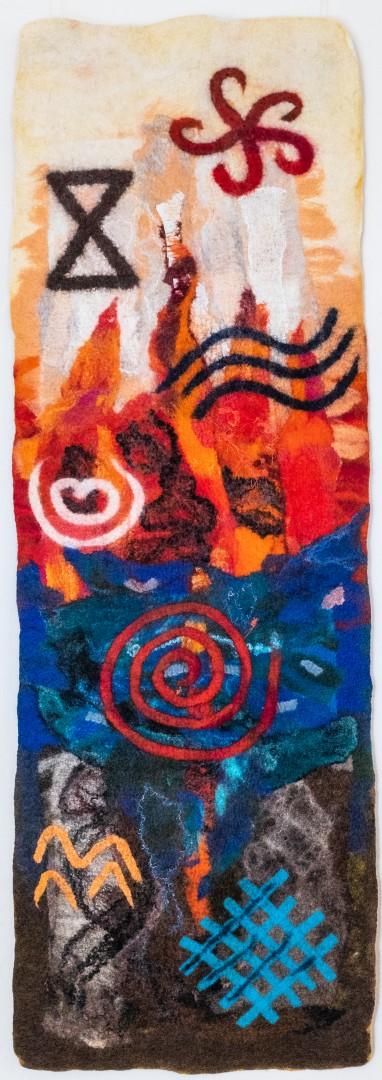 Die vier Elemente. (Mechtildis Köder), 2014, ca. 42 x 127 cm, Schafwolle, diverse textile Materialien, handgefilzt