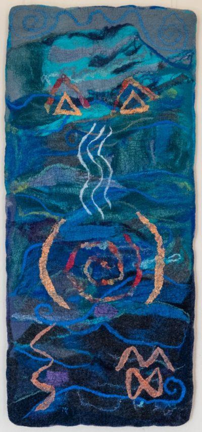 Das Wasser. (Mechtildis Köder), 2014, ca. 47 x 87 cm, Schafwolle, handgefilzt