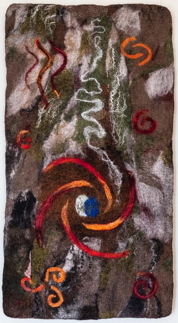 Die Erde. (Mechtildes Köder), 2014, ca. 47 x 87 cm, Schafwolle, handgefilzt