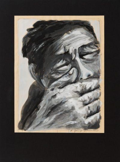 keine Luft (Anne Grunge-Dirkers), 32 x 42 cm, Tempera auf Karton