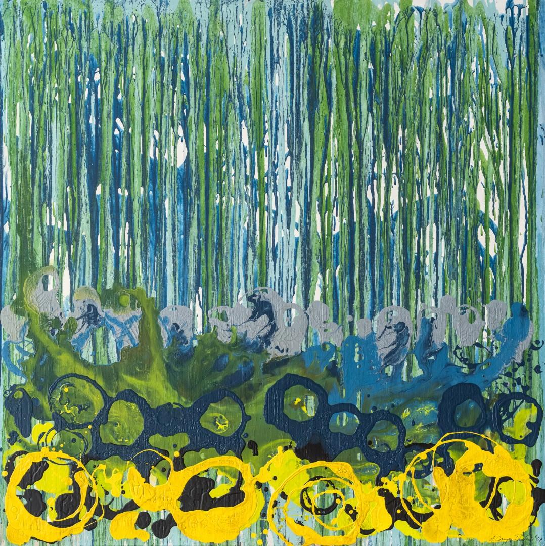 Gegen den Strom (Anne Grunge-Dirkers), Acryl / Lackfarben auf Leinwand, 100 x 100 cm