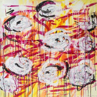 Myth of the Rose (Anne Grunge-Dirkers), Acryl / Lackfarben auf Leinwand, 100 x 100 cm