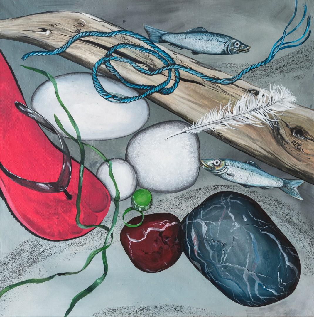 gestrandet (Anne Grunge-Dirkers), 80 x 80 cm, Acryl auf Leinwand