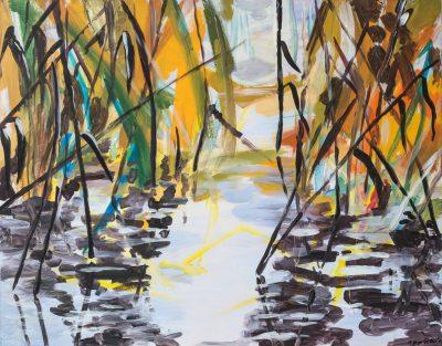 Spiegelung (Anne Grunge-Dirkers), Acryl auf Kapa, 120 x 100 cm