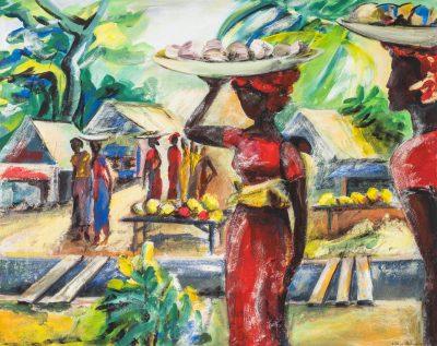 Makolamarket (Anne Grunge-Dirkers), Acryl auf Leinwand, 100 x 78 cm