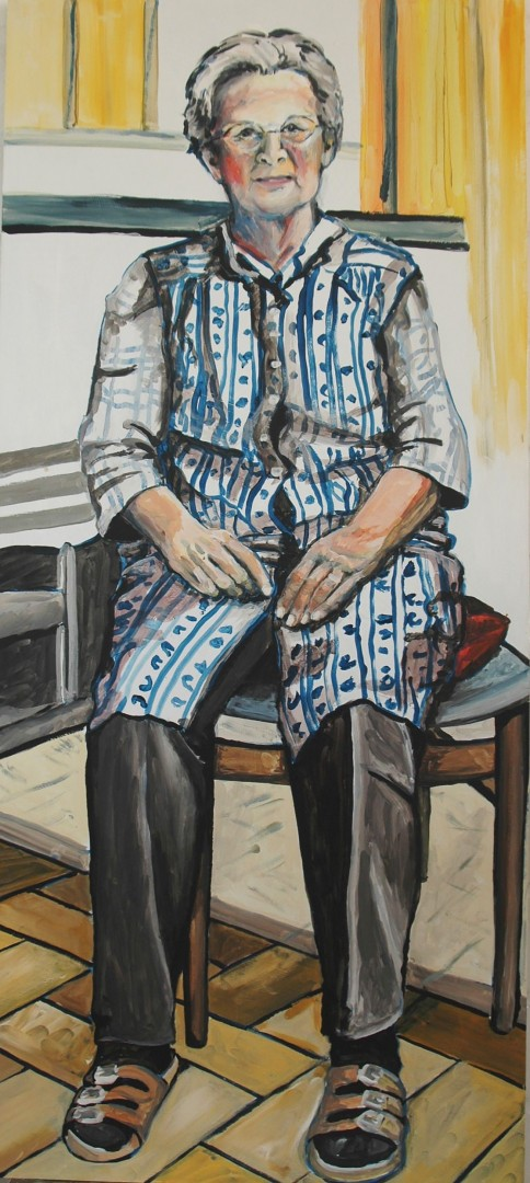 Adelheid Gude (Anne Grunge-Dirkers), Acryl auf Kapa, 65 x 140 cm