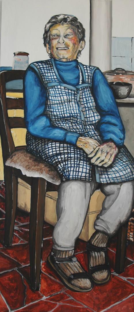 Inge Berninghaus (Anne Grunge-Dirkers), Acryl auf Kapa, 65 x 140 cm